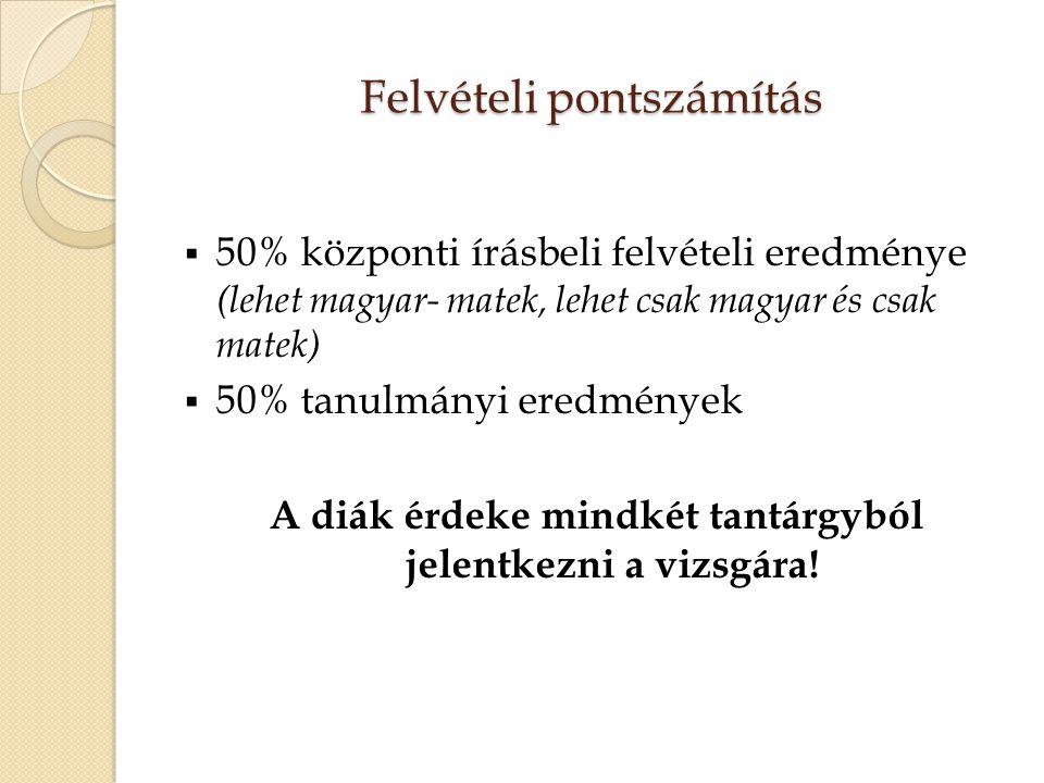 Felvételi pontszámítás  50% központi írásbeli felvételi eredménye (lehet magyar- matek, lehet csak magyar és csak matek)  50% tanulmányi eredmények