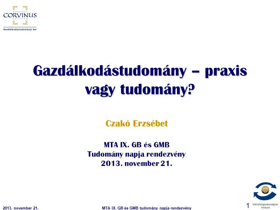 MTA IX.GB és GMB tudomány napja rendezvény 2 Indíttatás 1988 - 2003.