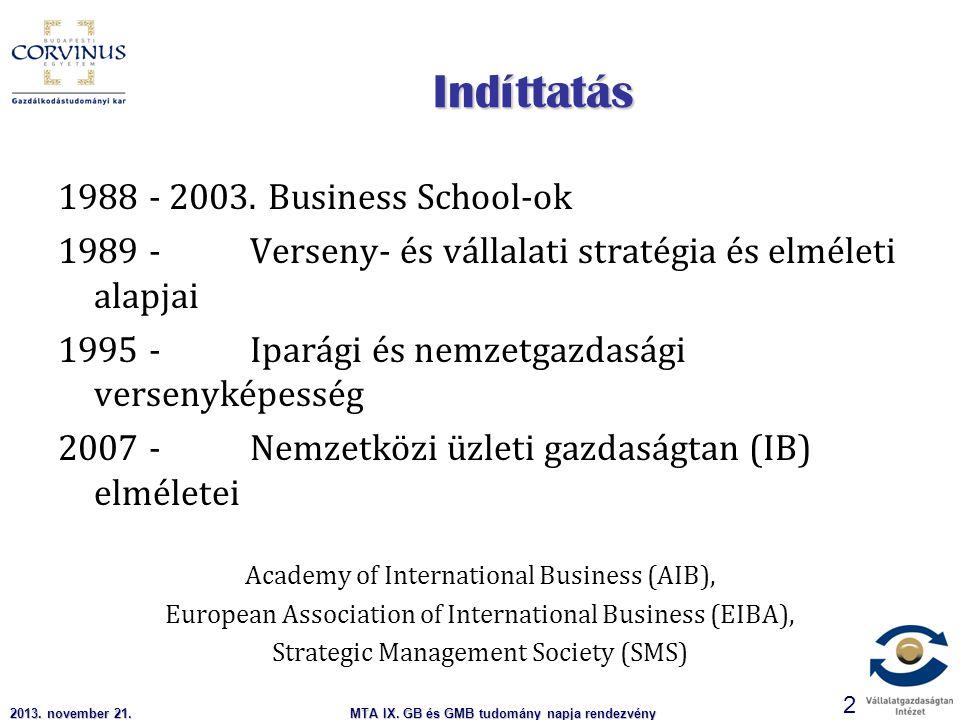 MTA IX. GB és GMB tudomány napja rendezvény 2 Indíttatás 1988 - 2003.