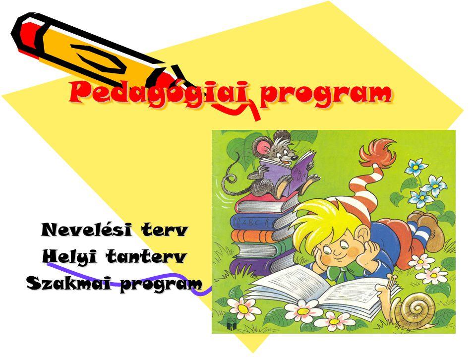 Pedagógiai program Nevelési terv Helyi tanterv Szakmai program