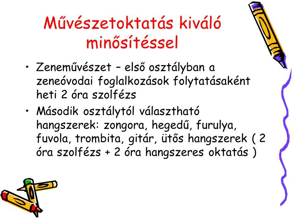 Művészetoktatás kiváló minősítéssel Zeneművészet – első osztályban a zeneóvodai foglalkozások folytatásaként heti 2 óra szolfézs Második osztálytól vá