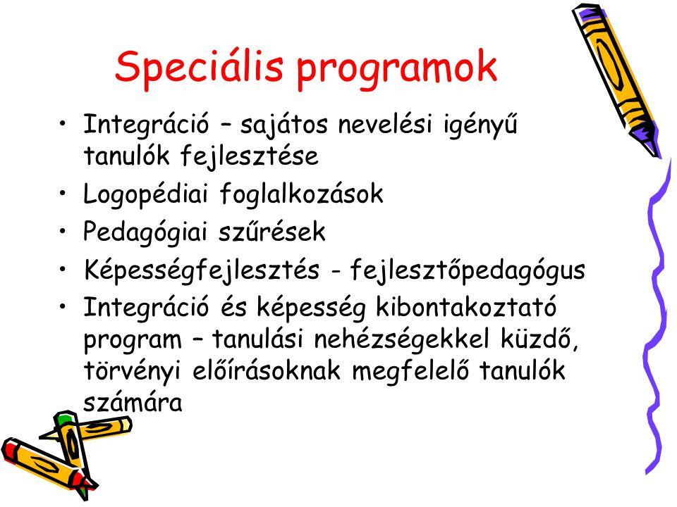 Speciális programok Integráció – sajátos nevelési igényű tanulók fejlesztése Logopédiai foglalkozások Pedagógiai szűrések Képességfejlesztés - fejlesz