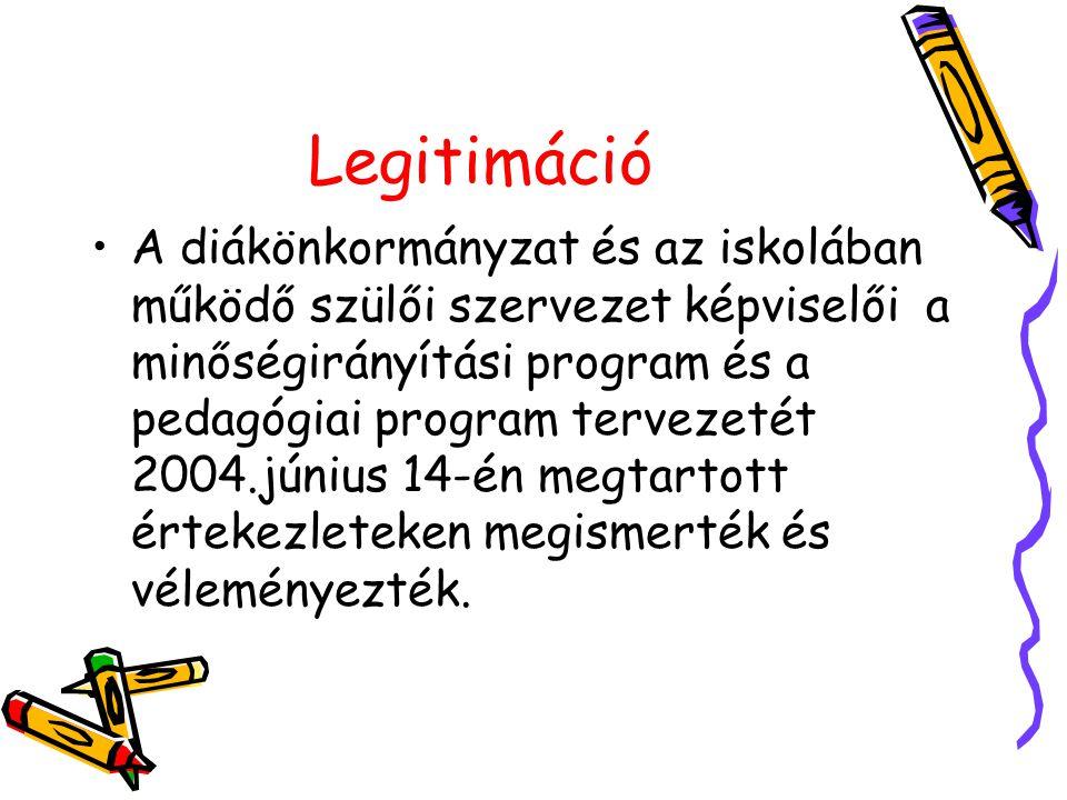 Legitimáció A diákönkormányzat és az iskolában működő szülői szervezet képviselői a minőségirányítási program és a pedagógiai program tervezetét 2004.