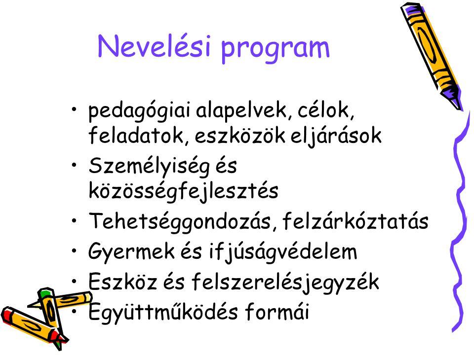 Nevelési program pedagógiai alapelvek, célok, feladatok, eszközök eljárások Személyiség és közösségfejlesztés Tehetséggondozás, felzárkóztatás Gyermek