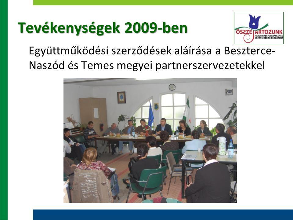 Tevékenységek 2009-ben Együttműködési szerződések aláírása a Beszterce- Naszód és Temes megyei partnerszervezetekkel