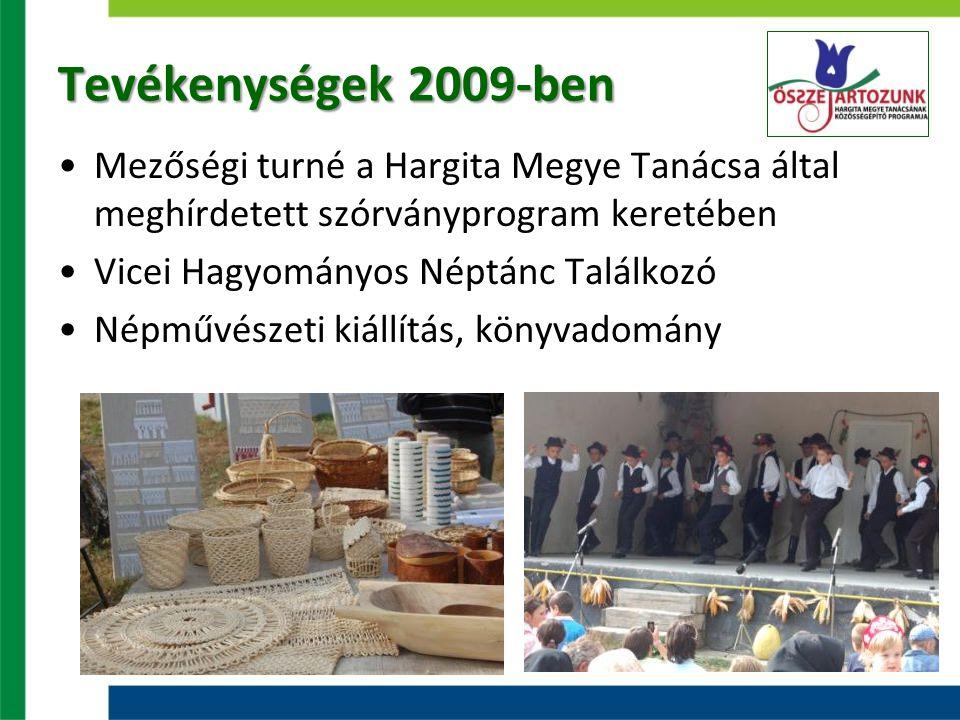 Tevékenységek 2009-ben Mezőségi turné a Hargita Megye Tanácsa által meghírdetett szórványprogram keretében Vicei Hagyományos Néptánc Találkozó Népművészeti kiállítás, könyvadomány