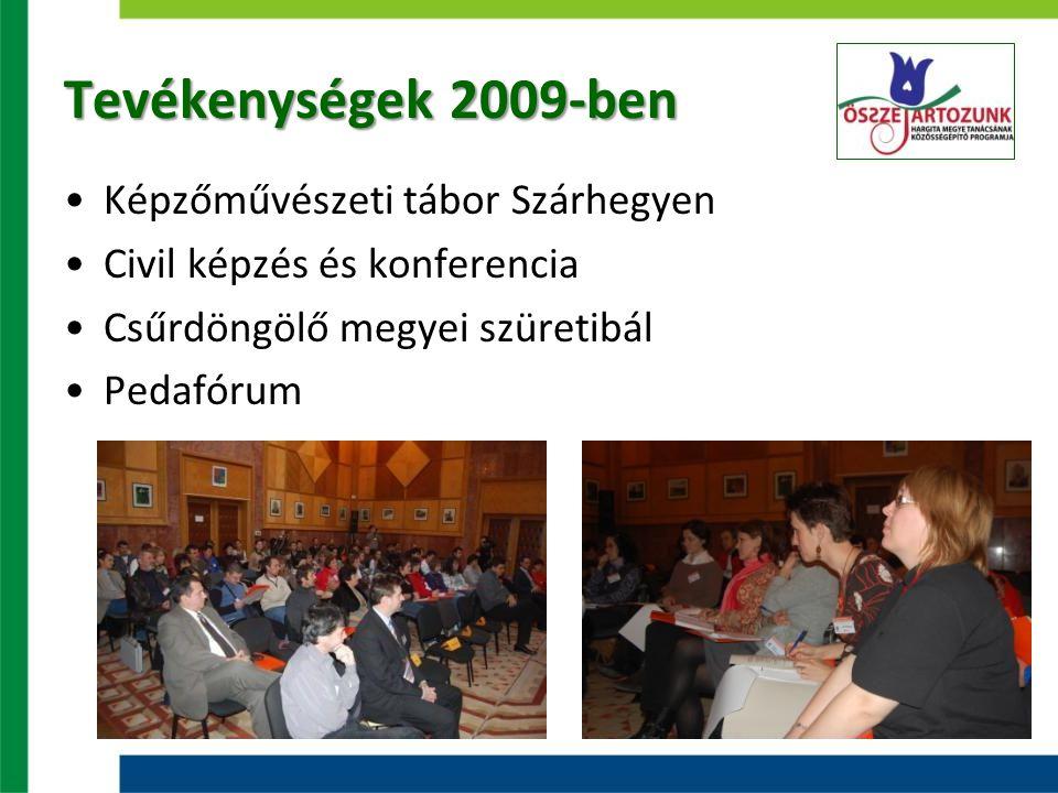 Tevékenységek 2009-ben Képzőművészeti tábor Szárhegyen Civil képzés és konferencia Csűrdöngölő megyei szüretibál Pedafórum