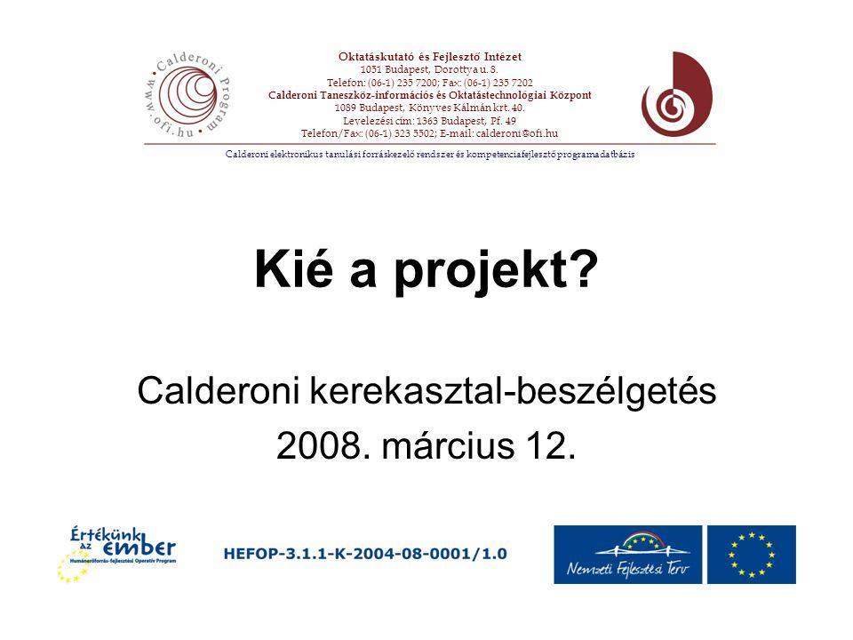 Kié a projekt. Calderoni kerekasztal-beszélgetés 2008.