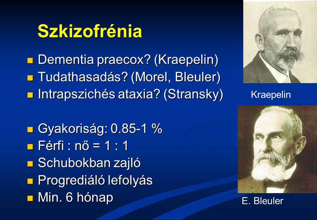 Szkizofrénia Dementia praecox? (Kraepelin) Dementia praecox? (Kraepelin) Tudathasadás? (Morel, Bleuler) Tudathasadás? (Morel, Bleuler) Intrapszichés a