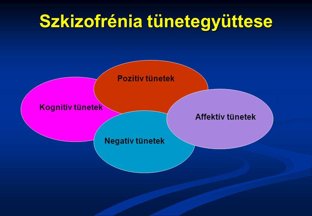 Szkizofrénia tünetegyüttese Pozitív tünetek Negatív tünetek Kognitív tünetek Affektív tünetek