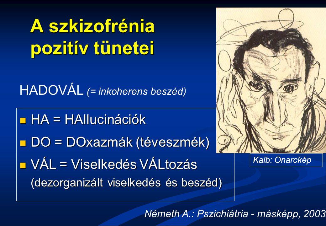 A szkizofrénia pozitív tünetei HA = HAllucinációk HA = HAllucinációk DO = DOxazmák (téveszmék) DO = DOxazmák (téveszmék) VÁL = Viselkedés VÁLtozás (de