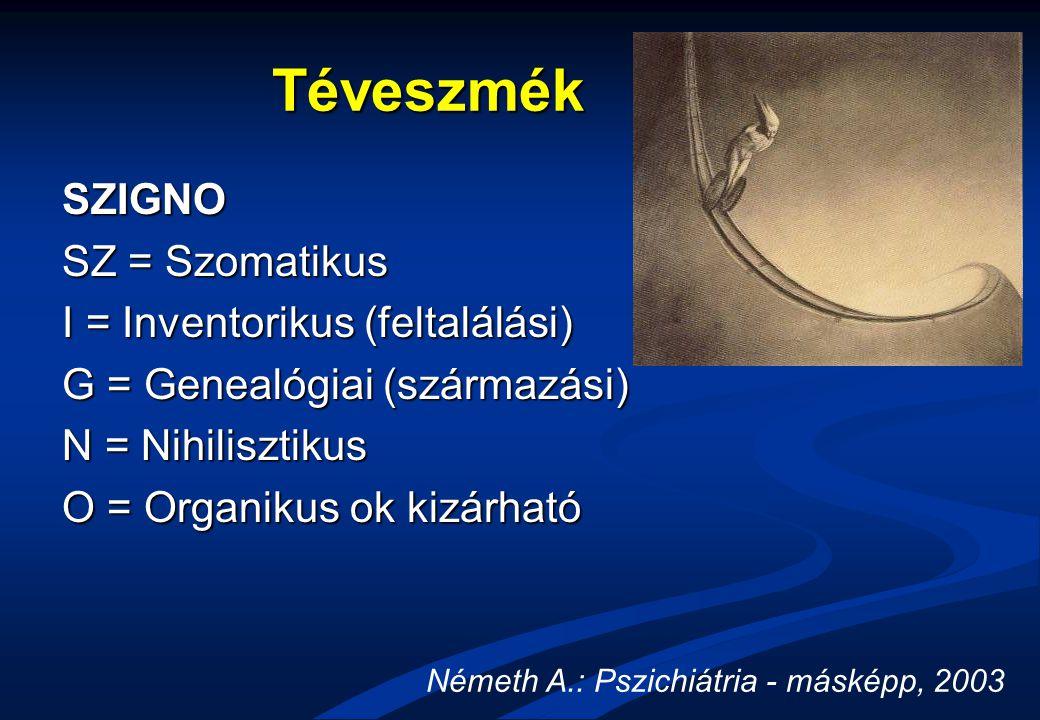 Téveszmék SZIGNO SZ = Szomatikus I = Inventorikus (feltalálási) G = Genealógiai (származási) N = Nihilisztikus O = Organikus ok kizárható Németh A.: P