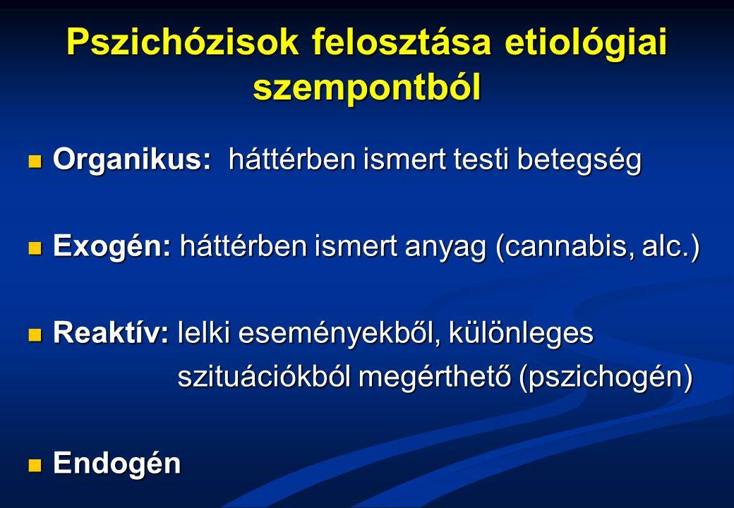 Pszichózisok felosztása etiológiai szempontból Organikus: háttérben ismert testi betegség Organikus: háttérben ismert testi betegség Exogén: háttérben