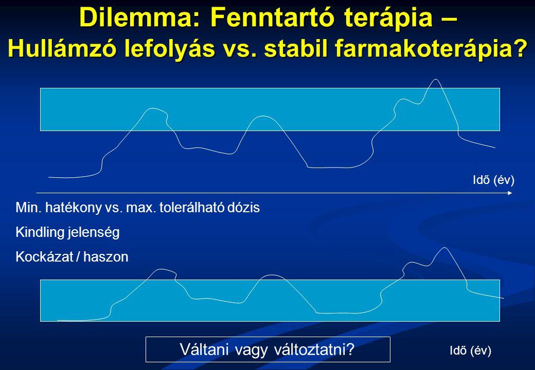 Dilemma: Fenntartó terápia – Hullámzó lefolyás vs. stabil farmakoterápia? Min. hatékony vs. max. tolerálható dózis Kindling jelenség Kockázat / haszon