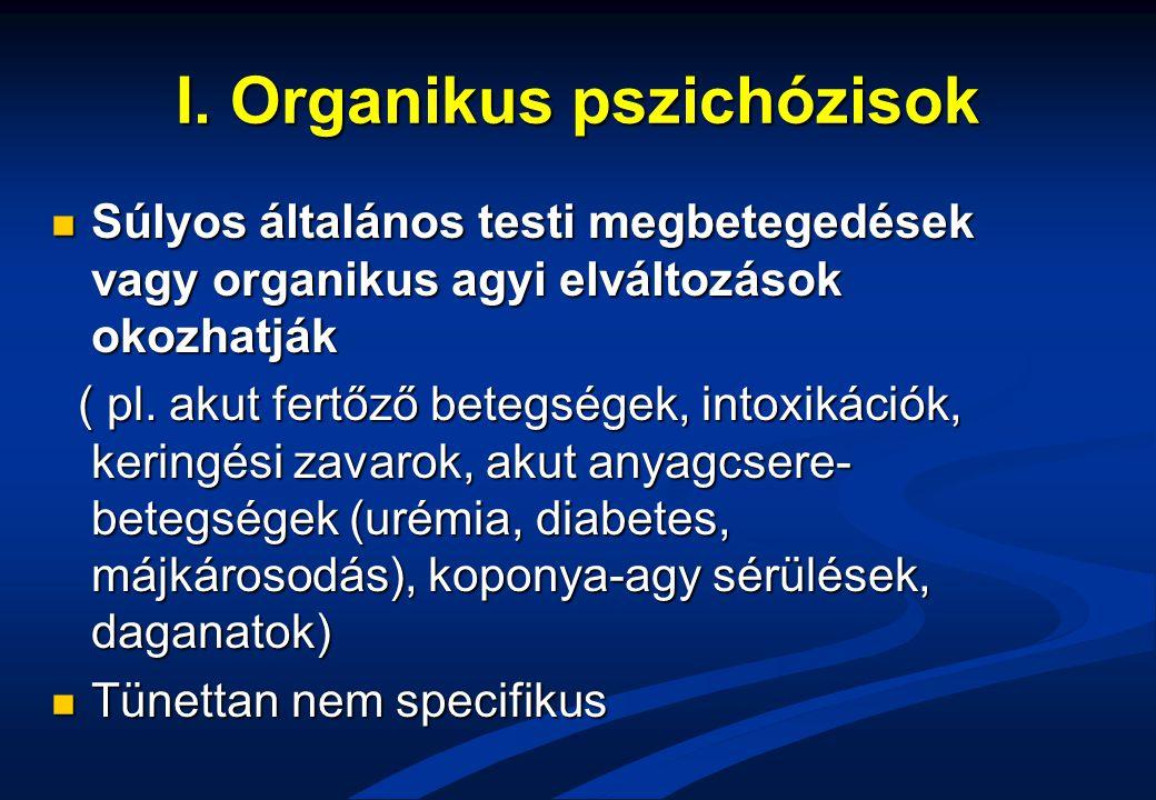 I. Organikus pszichózisok Súlyos általános testi megbetegedések vagy organikus agyi elváltozások okozhatják Súlyos általános testi megbetegedések vagy