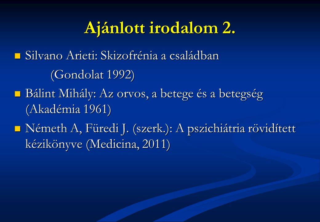 Ajánlott irodalom 2. Silvano Arieti: Skizofrénia a családban Silvano Arieti: Skizofrénia a családban (Gondolat 1992) (Gondolat 1992) Bálint Mihály: Az