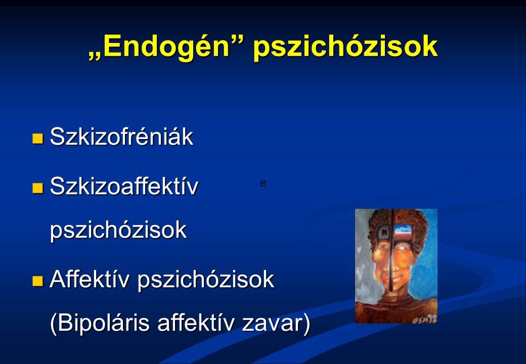 """""""Endogén"""" pszichózisok Szkizofréniák Szkizofréniák Szkizoaffektív pszichózisok Szkizoaffektív pszichózisok Affektív pszichózisok (Bipoláris affektív z"""