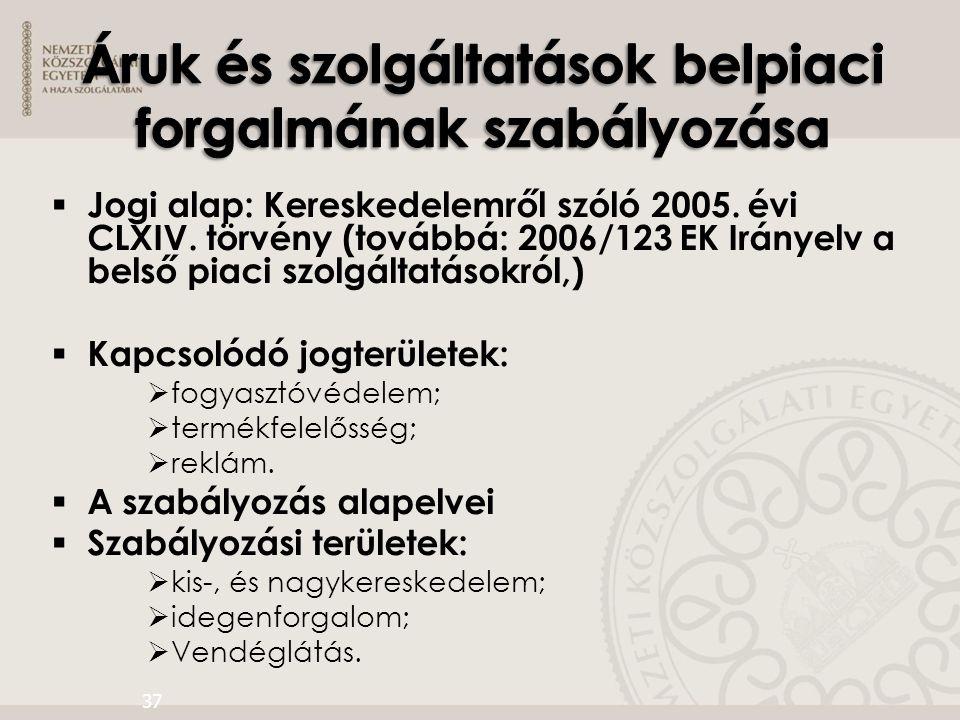  Jogi alap: Kereskedelemről szóló 2005. évi CLXIV. törvény (továbbá: 2006/123 EK Irányelv a belső piaci szolgáltatásokról,)  Kapcsolódó jogterületek