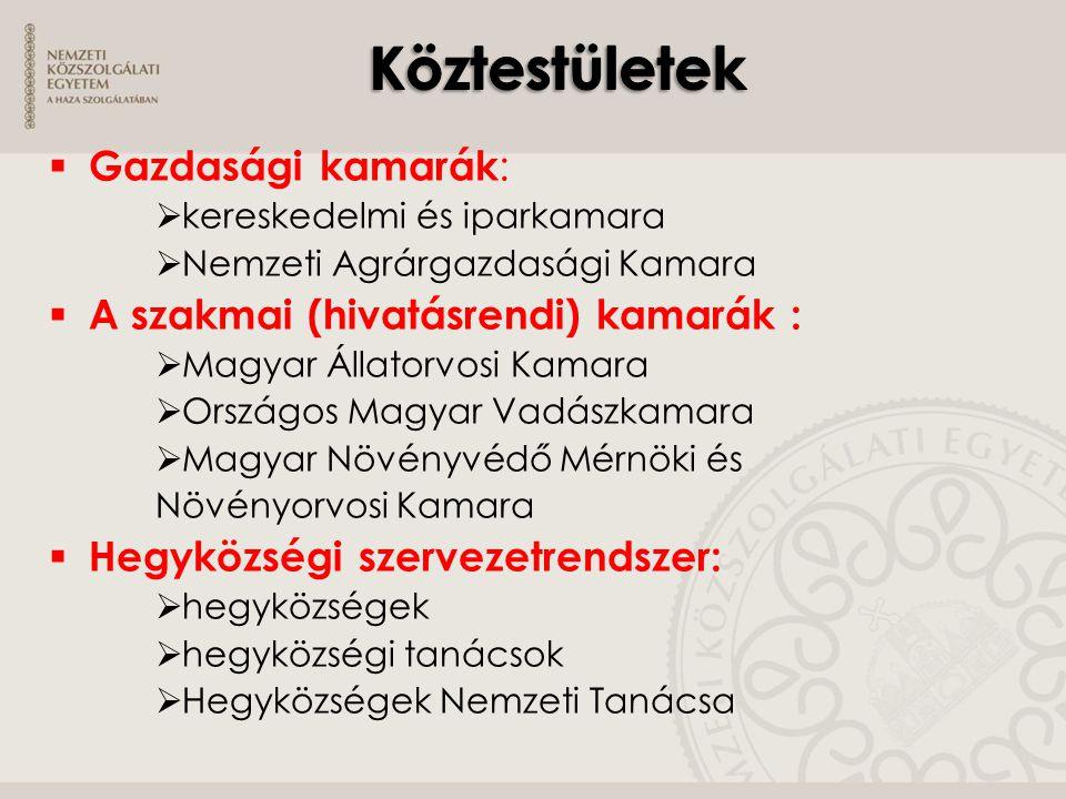  Gazdasági kamarák :  kereskedelmi és iparkamara  Nemzeti Agrárgazdasági Kamara  A szakmai (hivatásrendi) kamarák :  Magyar Állatorvosi Kamara 