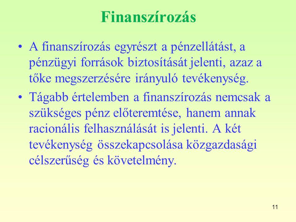 Finanszírozás A finanszírozás egyrészt a pénzellátást, a pénzügyi források biztosítását jelenti, azaz a tőke megszerzésére irányuló tevékenység. Tágab