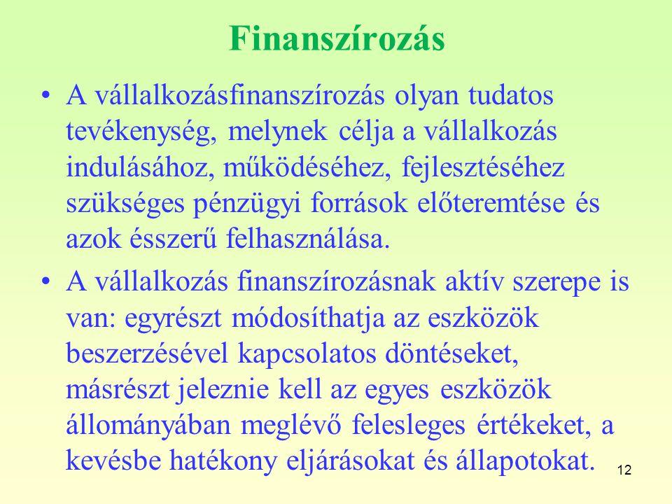 Finanszírozás A vállalkozásfinanszírozás olyan tudatos tevékenység, melynek célja a vállalkozás indulásához, működéséhez, fejlesztéséhez szükséges pén