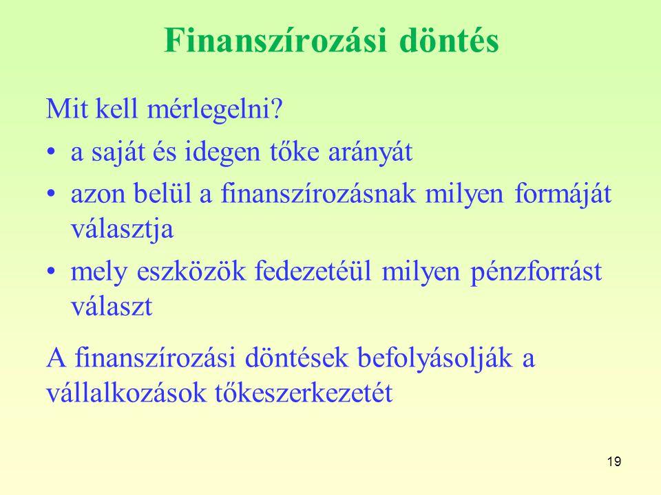 Finanszírozási döntés Mit kell mérlegelni? a saját és idegen tőke arányát azon belül a finanszírozásnak milyen formáját választja mely eszközök fedeze