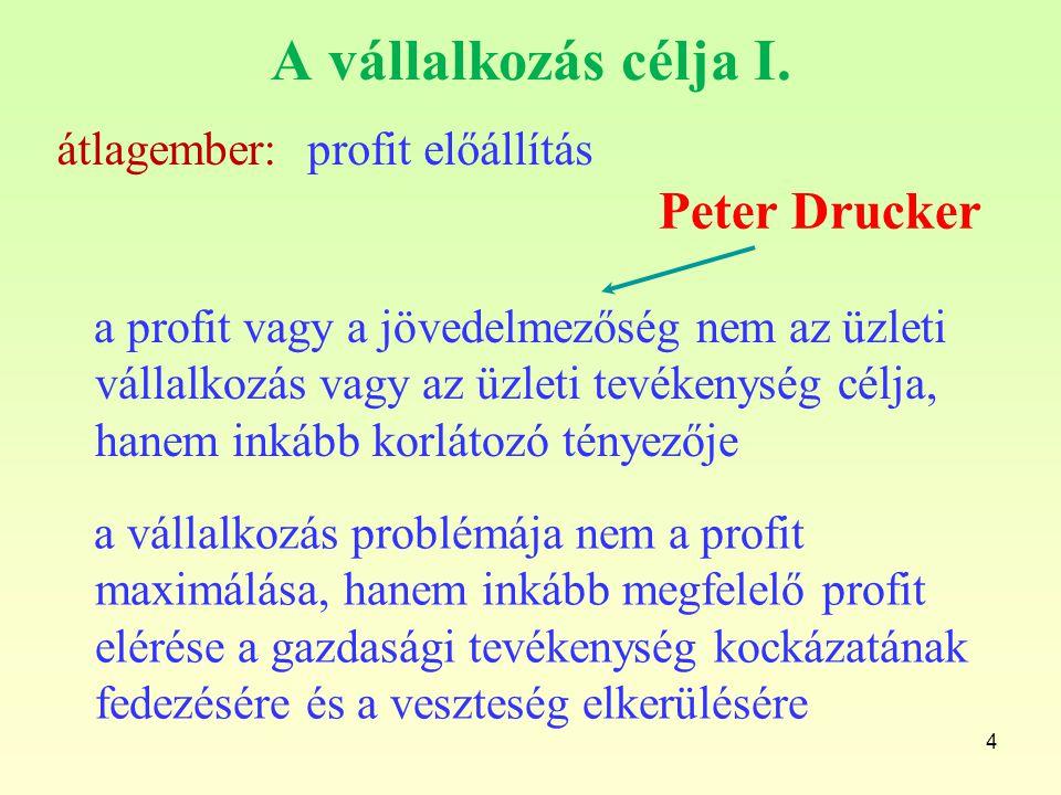 4 A vállalkozás célja I. profit előállításátlagember: a profit vagy a jövedelmezőség nem az üzleti vállalkozás vagy az üzleti tevékenység célja, hanem