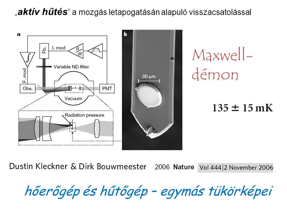 """"""" aktív hűtés a mozgás letapogatásán alapuló visszacsatolással Maxwell- démon hőerőgép és hűtőgép – egymás tükörképei"""