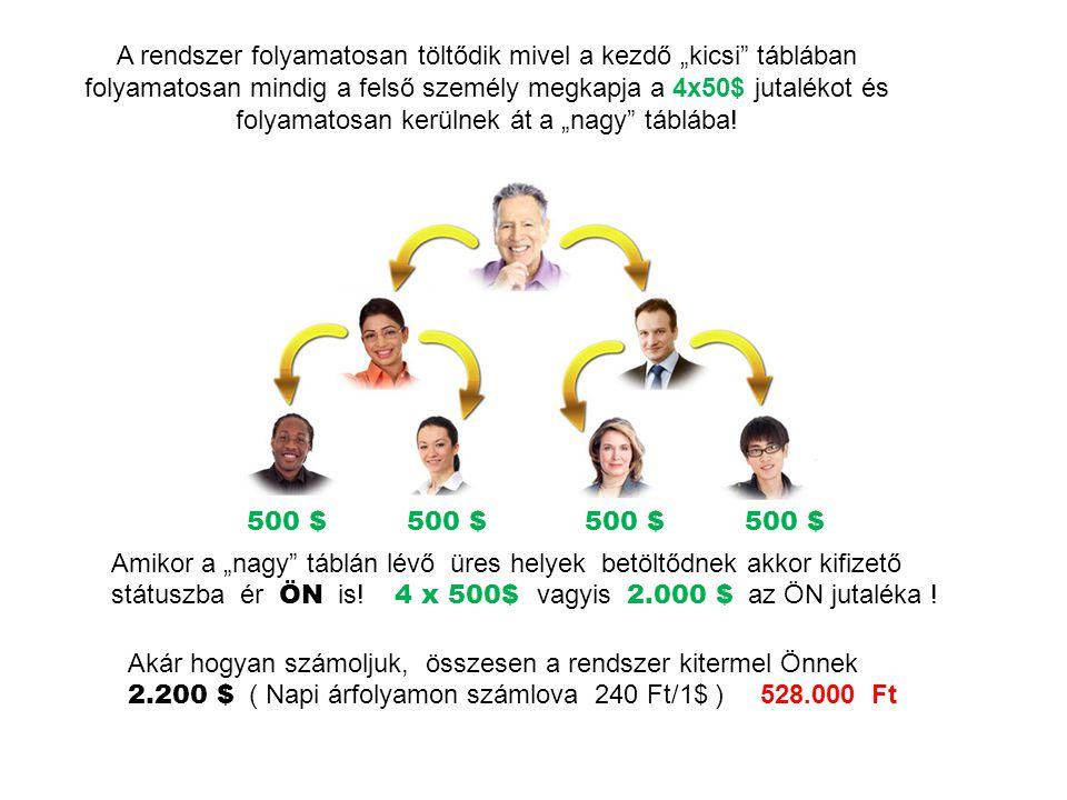 """A rendszer folyamatosan töltődik mivel a kezdő """"kicsi"""" táblában folyamatosan mindig a felső személy megkapja a 4x50$ jutalékot és folyamatosan kerülne"""