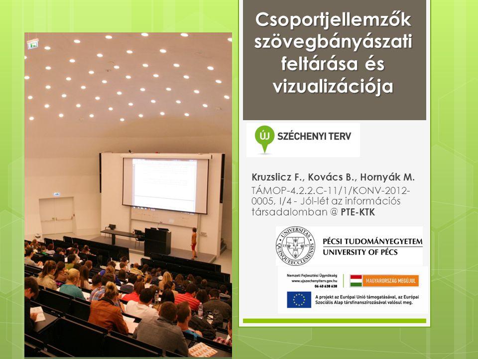 Csoportjellemzők szövegbányászati feltárása és vizualizációja Kruzslicz F., Kovács B., Hornyák M.