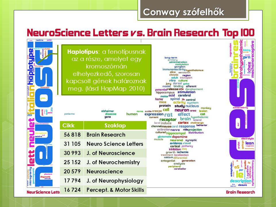 Conway szófelhők CikkSzaklap 56 818Brain Research 31 105Neuro Science Letters 30 993J.