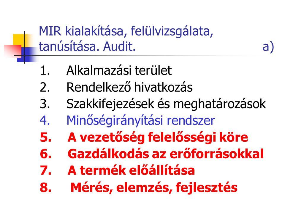 MIR kialakítása, felülvizsgálata, tanúsítása. Audit. a) 1. Alkalmazási terület 2. Rendelkező hivatkozás 3. Szakkifejezések és meghatározások 4. Minősé