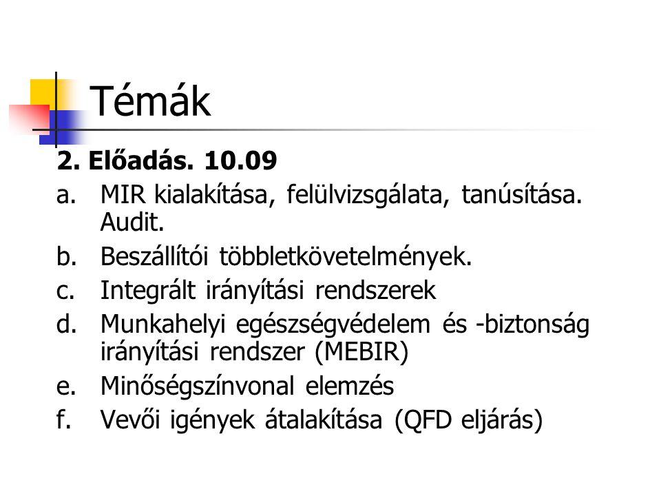 Témák 2. Előadás. 10.09 a.MIR kialakítása, felülvizsgálata, tanúsítása. Audit. b.Beszállítói többletkövetelmények. c.Integrált irányítási rendszerek d