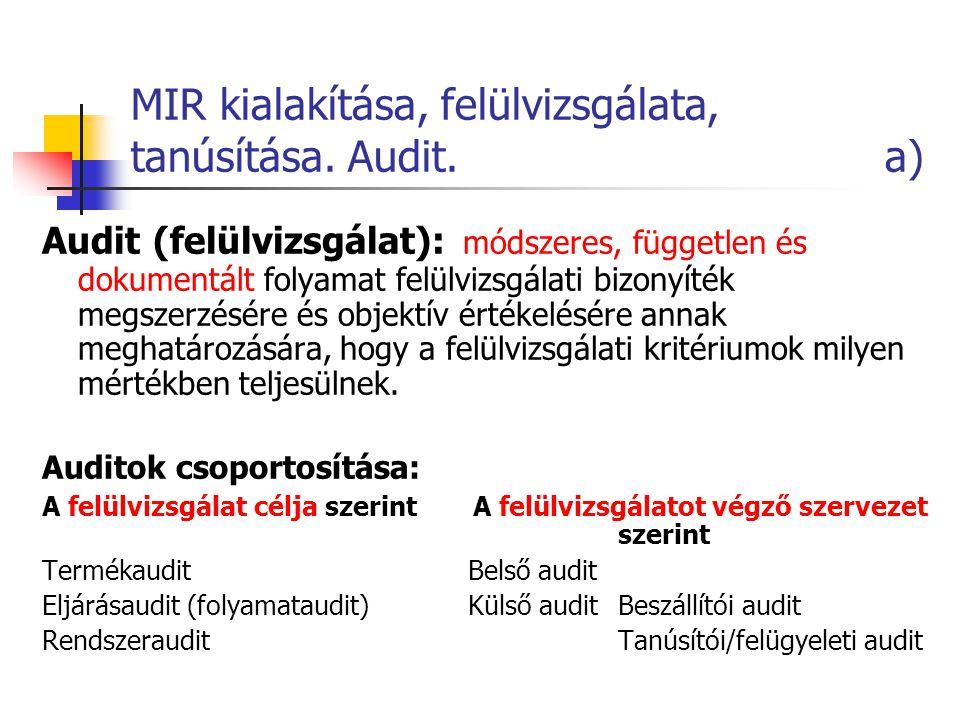 MIR kialakítása, felülvizsgálata, tanúsítása. Audit. a) Audit (felülvizsgálat): módszeres, független és dokumentált folyamat felülvizsgálati bizonyíté