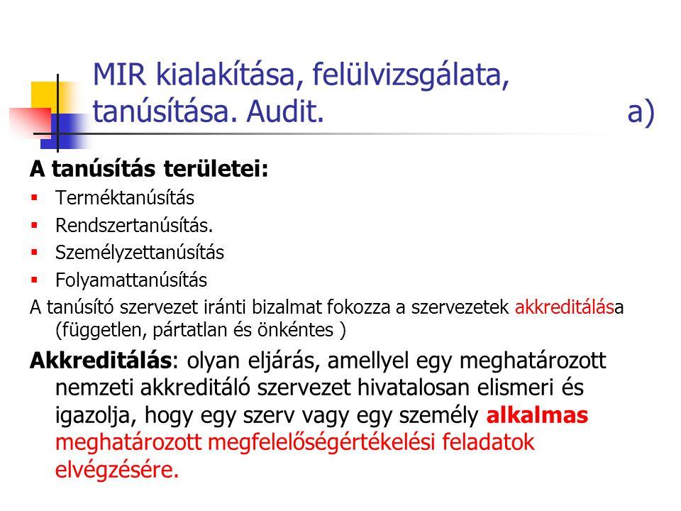 MIR kialakítása, felülvizsgálata, tanúsítása. Audit. a) A tanúsítás területei:  Terméktanúsítás  Rendszertanúsítás.  Személyzettanúsítás  Folyamat