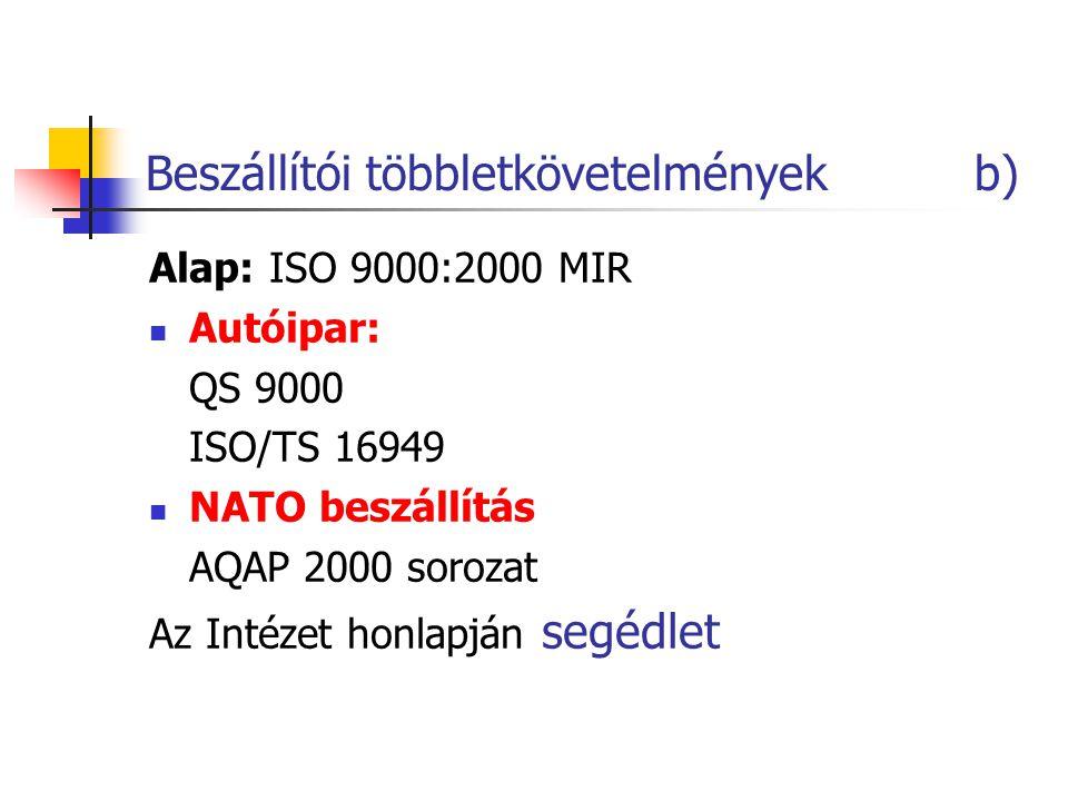 Beszállítói többletkövetelmények b) Alap: ISO 9000:2000 MIR Autóipar: QS 9000 ISO/TS 16949 NATO beszállítás AQAP 2000 sorozat Az Intézet honlapján seg