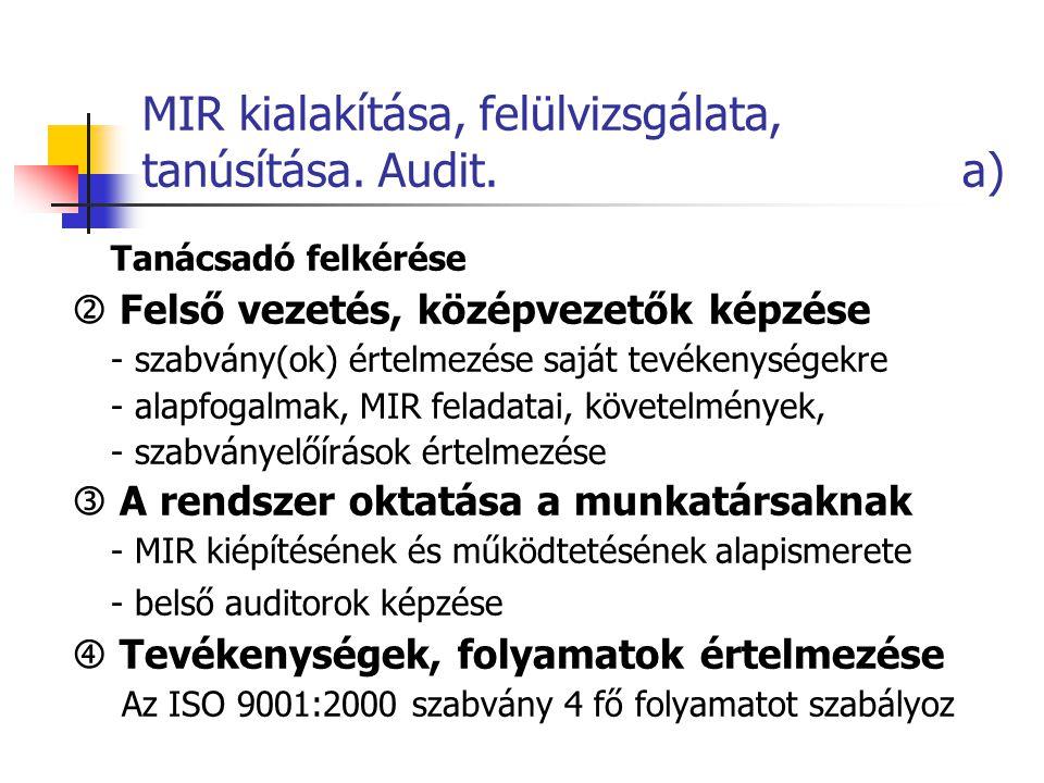 MIR kialakítása, felülvizsgálata, tanúsítása. Audit. a) Tanácsadó felkérése  Felső vezetés, középvezetők képzése - szabvány(ok) értelmezése saját tev