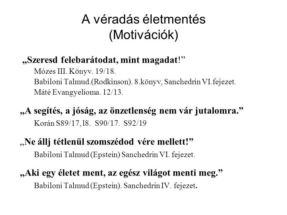 """A véradás életmentés (Motivációk) """"Szeresd felebarátodat, mint magadat!"""" Mózes III. Könyv. 19/18. Babiloni Talmud.(Rodkinson). 8.könyv, Sanchedrin VI."""