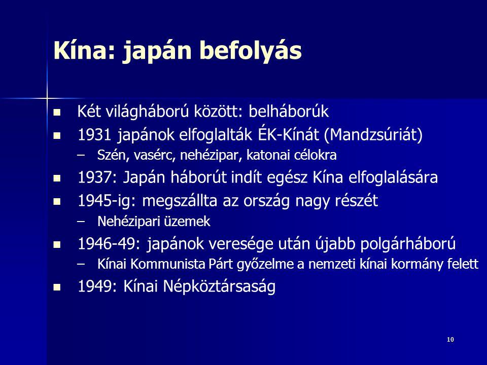 10 Kína: japán befolyás Két világháború között: belháborúk 1931 japánok elfoglalták ÉK-Kínát (Mandzsúriát) – –Szén, vasérc, nehézipar, katonai célokra