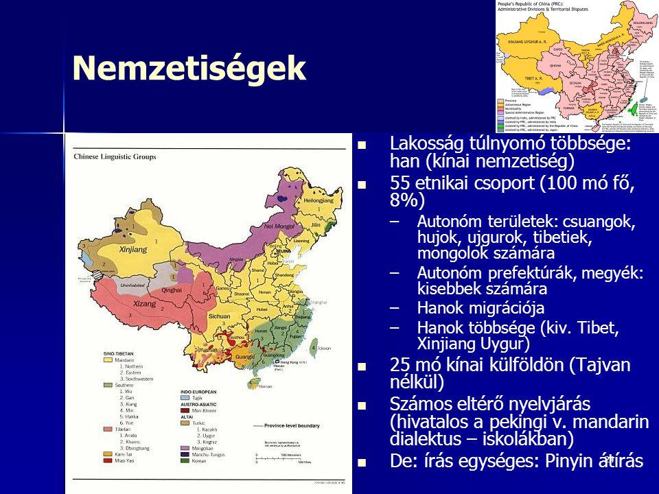 24 Nemzetiségek Lakosság túlnyomó többsége: han (kínai nemzetiség) 55 etnikai csoport (100 mó fő, 8%) – –Autonóm területek: csuangok, hujok, ujgurok,