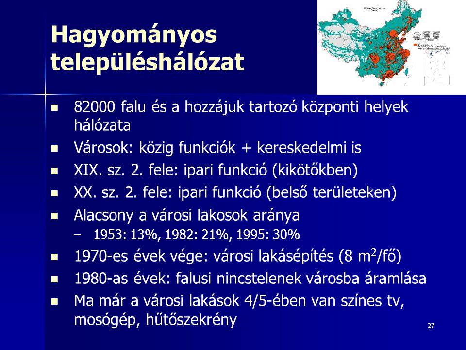 27 Hagyományos településhálózat 82000 falu és a hozzájuk tartozó központi helyek hálózata Városok: közig funkciók + kereskedelmi is XIX. sz. 2. fele: