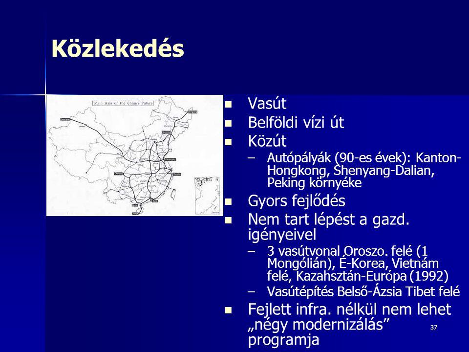 37 Közlekedés Vasút Belföldi vízi út Közút – –Autópályák (90-es évek): Kanton- Hongkong, Shenyang-Dalian, Peking környéke Gyors fejlődés Nem tart lépé