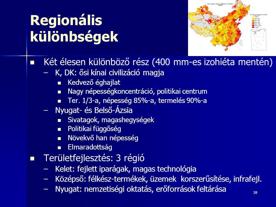 38 Regionális különbségek Két élesen különböző rész (400 mm-es izohiéta mentén) – –K, DK: ősi kínai civilizáció magja Kedvező éghajlat Nagy népességko