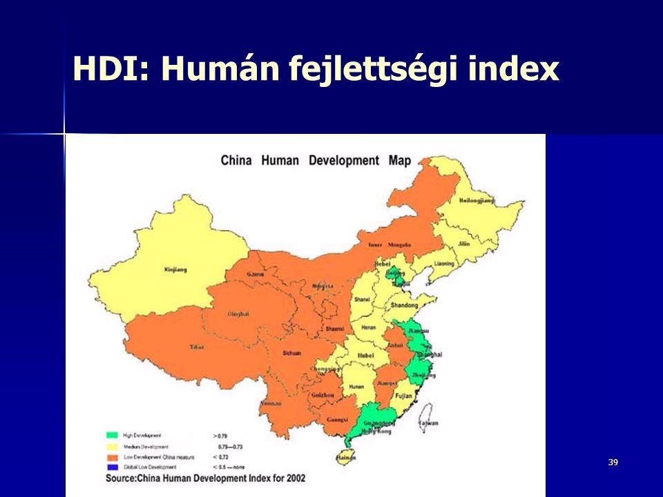 39 HDI: Humán fejlettségi index