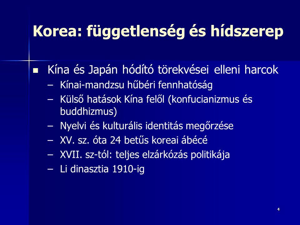 44 Korea: függetlenség és hídszerep Kína és Japán hódító törekvései elleni harcok – –Kínai-mandzsu hűbéri fennhatóság – –Külső hatások Kína felől (kon