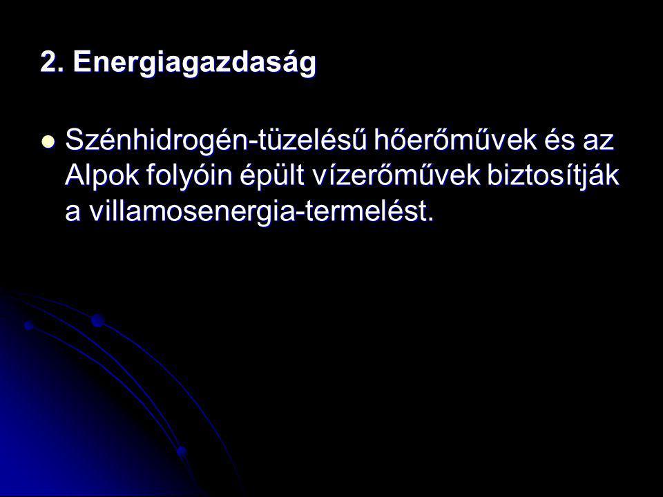 2. Energiagazdaság Szénhidrogén-tüzelésű hőerőművek és az Alpok folyóin épült vízerőművek biztosítják a villamosenergia-termelést. Szénhidrogén-tüzelé