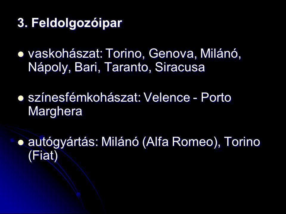 3. Feldolgozóipar vaskohászat: Torino, Genova, Milánó, Nápoly, Bari, Taranto, Siracusa vaskohászat: Torino, Genova, Milánó, Nápoly, Bari, Taranto, Sir