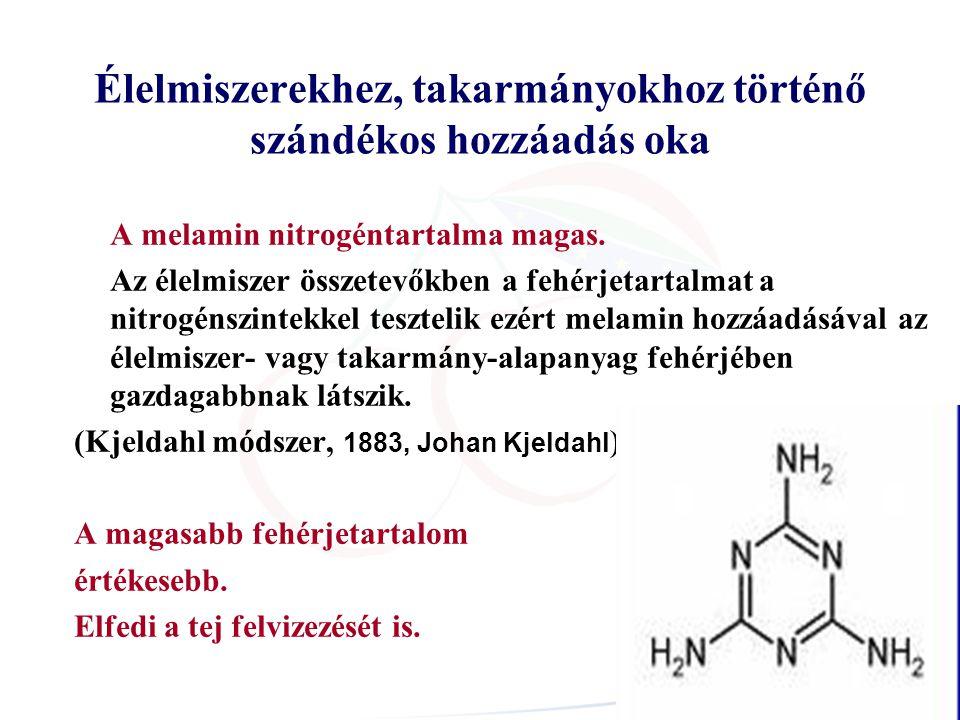 Élelmiszerekhez, takarmányokhoz történő szándékos hozzáadás oka A melamin nitrogéntartalma magas.