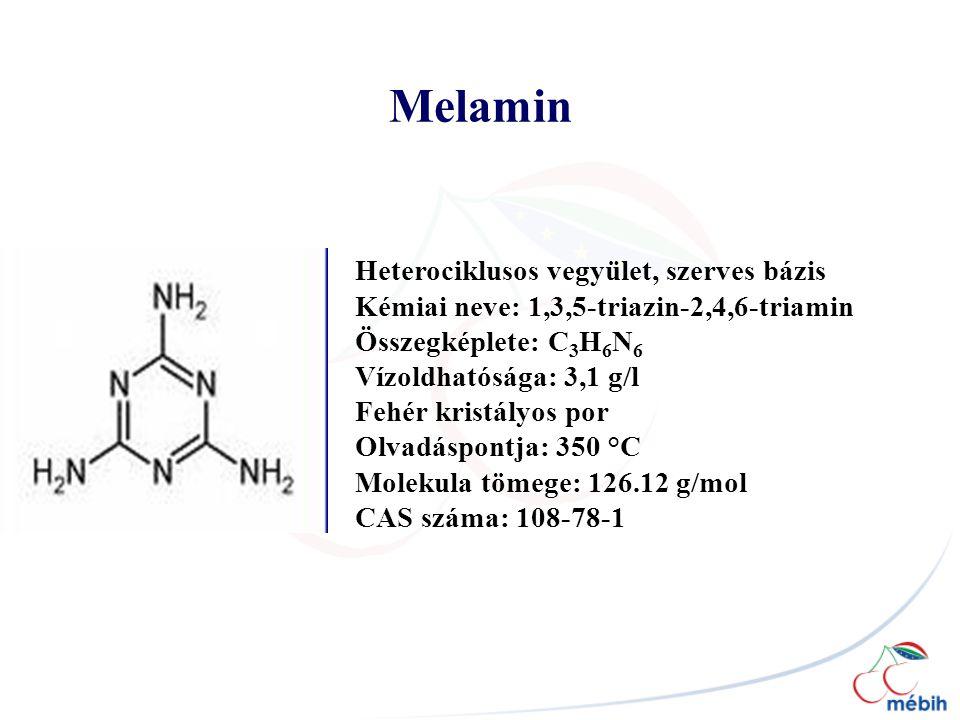 Melamin Heterociklusos vegyület, szerves bázis Kémiai neve: 1,3,5-triazin-2,4,6-triamin Összegképlete: C 3 H 6 N 6 Vízoldhatósága: 3,1 g/l Fehér kristályos por Olvadáspontja: 350 °C Molekula tömege: 126.12 g/mol CAS száma: 108-78-1