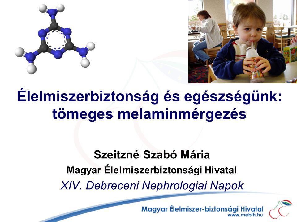 Élelmiszerbiztonság és egészségünk: tömeges melaminmérgezés Szeitzné Szabó Mária Magyar Élelmiszerbiztonsági Hivatal XIV.